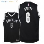 Maillot NBA Enfant Brooklyn Nets NO.6 Jared Dudley Noir Icon 2018 Pas Cher