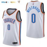 Maillot NBA Oklahoma City Thunder NO.0 Russell Westbrook Blanc Association 2017-2018 Pas Cher
