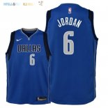 Maillot NBA Enfant Dallas Mavericks NO.6 DeAndre Jordan Bleu Icon 2018 Pas Cher