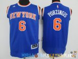 Maillot NBA Enfants New York Knicks NO.6 Kristaps Porzingis Bleu Pas Cher