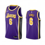 Maillot Los Angeles Lakers Nike NO.6 Lebron James Purpura Statement 2019-20 Pas Cher