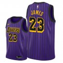 Maillot NBA Los Angeles Lakers NO.23 Lebron James Pourpre Ciudad 2018-2019 Pas Cher