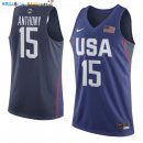 Maillot NBA 2016 USA Carmelo Anthony NO.15 Bleu Pas Cher