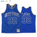 Maillot NBA CNY Throwback New York Knicks NO.32 Jerry Lucas Bradley Bleu 2020