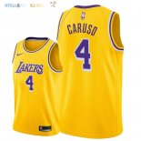 Maillot NBA Los Angeles Lakers NO.4 Alex Caruso Jaune Icon 2018-2019 Pas Cher