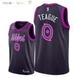 Maillot NBA Minnesota Timberwolves NO.0 Jeff Teague Pourpre Ville 2018-2019 Pas Cher