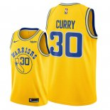 Maillot NBA Golden State Warriors Nike NO.30 Stephen Curry Jaune Ville Pas Cher 2018/19