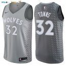 Maillot NBA Minnesota Timberwolves NO.32 Karl Anthony Towns Nike Gris Ville 2017-2018 Pas Cher