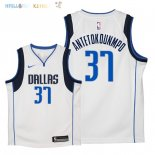 Maillot NBA Enfant Dallas Mavericks NO.37 Kostas Antetokounmpo Blanc Association 2018 Pas Cher