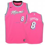 Maillot NBA Enfant Earned Edition Miami Heat NO.8 Tyler Johnson Rose 2018-19Pas Cher