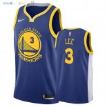Maillot NBA Golden State Warriors NO.3 Damion Lee Bleu Icon 2018 Pas Cher