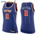 Maillot NBA Femme New York Knicks NO.11 Frank Ntilikina Bleu Icon Pas Cher