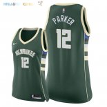 Maillot NBA Femme Milwaukee Bucks NO.12 Jabari Parker Vert Icon 2018 Pas Cher
