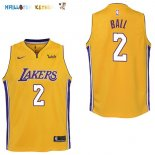 Maillot NBA Enfant Los Angeles Lakers NO.2 Lonzo Ball Jaune Pas Cher