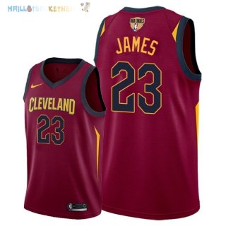 Maillot NBA Cleveland Cavaliers 2018 Finales Champions NO.23 LeBron James Rouge Icon Patch Pas Cher