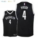 Maillot NBA Enfant Brooklyn Nets NO.10 Theo Pinson Noir Icon 2018 Pas Cher