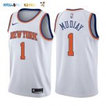 Maillot NBA New York Knicks NO.1 Emmanuel Mudiay Blanc Association 2017-2018 Pas Cher