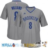 Maillot NBA Brooklyn Nets Manche Courte NO.8 Deron Michael Williams Gris Pas Cher