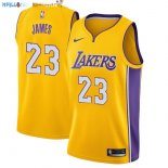 Maillot NBA Enfant Los Angeles Lakers NO.23 Lebron James Jaune Icon Pas Cher