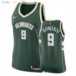 Maillot NBA Femme Milwaukee Bucks NO.9 Donte DiVincenzo Vert Icon 2018 Pas Cher