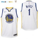 Maillot NBA Enfant Golden State Warriors NO.1 JaVale McGee Blanc Association Pas Cher