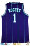 Maillot NBA Charlotte Hornets NO.1 Tyrone Curtis Bogues Bleu Pas Cher