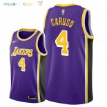 Maillot NBA Los Angeles Lakers NO.4 Alex Caruso Pourpre Statement 2018-2019 Pas Cher