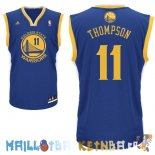 Maillot NBA Golden State Warriors NO.11 Klay Thompson Bleu Pas Cher