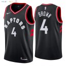 Maillot NBA Toronto Raptors NO.4 Lorenzo Brown Noir Statement 2018 Pas Cher
