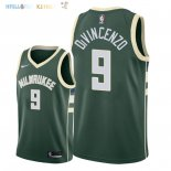 Maillot NBA Milwaukee Bucks NO.9 Donte DiVincenzo Vert Icon 2018-2019 Pas Cher