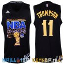 Maillot NBA Golden State Warriors 2015 Finales Champions NO.11 Thompson Noir Pas Cher
