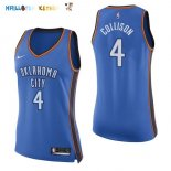Maillot NBA Femme Oklahoma City Thunder NO.4 Nick Collison Bleu Icon Pas Cher