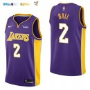 Maillot NBA Enfant Los Angeles Lakers NO.2 Lonzo Ball Pourpre Pas Cher