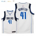 Maillot NBA Enfant Dallas Mavericks NO.41 Dirk Nowitzki Blanc Association 2018 Pas Cher