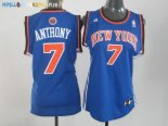 Maillot NBA Femme New York Knicks NO.7 Carmelo Anthony Bleu Orange Pas Cher