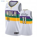 Maillot NBA New Orleans Pelicans NO.11 Jrue Holiday Nike Blanc Ville 2018-2019 Pas Cher