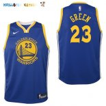 Maillot NBA Enfant Golden State Warriors NO.23 Draymond Green Bleu Icon Pas Cher