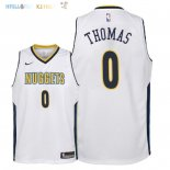 Maillot NBA Enfant Denver Nuggets NO.0 Isaiah Thomas Blanc Association 2018 Pas Cher