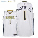 Maillot NBA Enfant Denver Nuggets NO.1 Michael Porter Jr Blanc Association 2018 Pas Cher