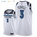 Maillot NBA Minnesota Timberwolves NO.3 Jared Terrell Blanc Association 2018 Pas Cher
