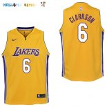 Maillot NBA Enfant Los Angeles Lakers NO.6 Jordan Clarkson Jaune Icon Pas Cher