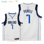 Maillot NBA Enfant Dallas Mavericks NO.7 Dwight Powell Blanc Association 2018 Pas Cher