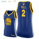Maillot NBA Femme Golden State Warriors NO.2 Jordan Bell Bleu Icon Patch Finales Champions 2018 Pas Cher