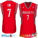 Maillot NBA Houston Rockets NO.7 Jeremy Lin Rouge Pas Cher