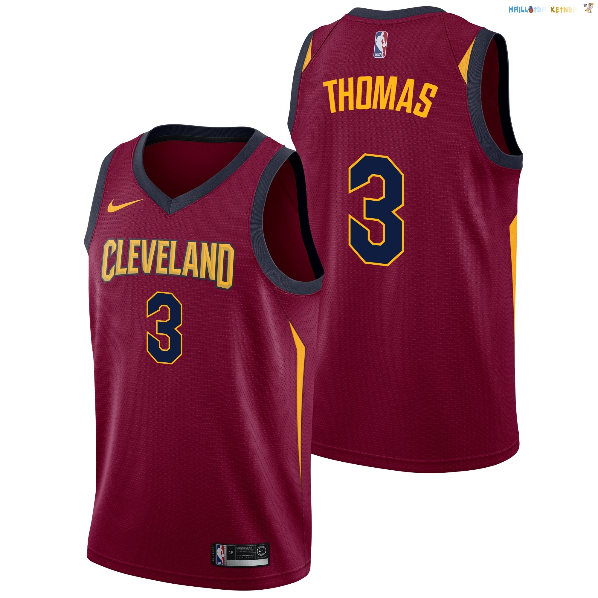 Maillot NBA Cleveland Cavaliers Nike Icon NO.3 Isaiah Thomas Bordeaux Pas Cher