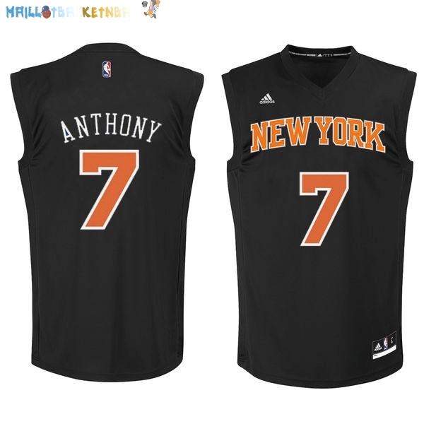 Maillot NBA New York Knicks NO.7 Carmelo Anthony Noir Orange Pas Cher