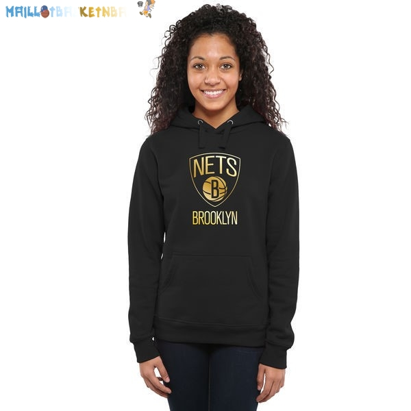 Hoodies Femme NBA Brooklyn Nets Noir Or Pas Cher
