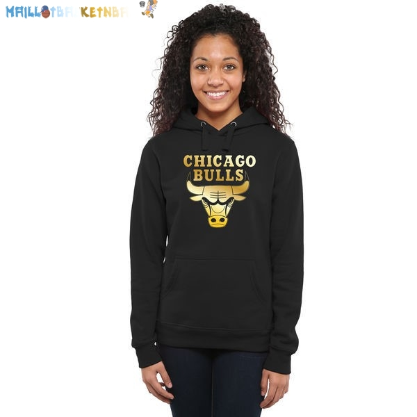 Hoodies Femme NBA Chicago Bulls Noir Or Pas Cher