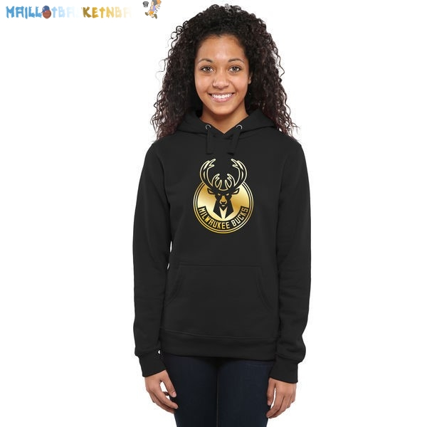 Hoodies Femme NBA Milwaukee Bucks Noir Or Pas Cher