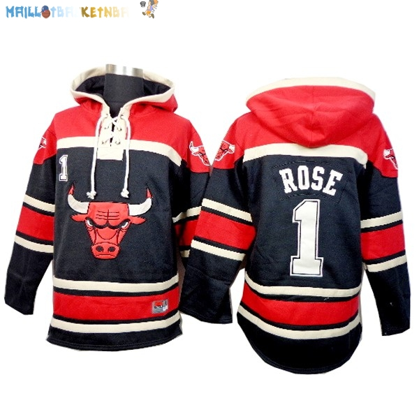 Hoodies NBA Chicago Bulls NO.1 Rose Noir Rouge Pas Cher
